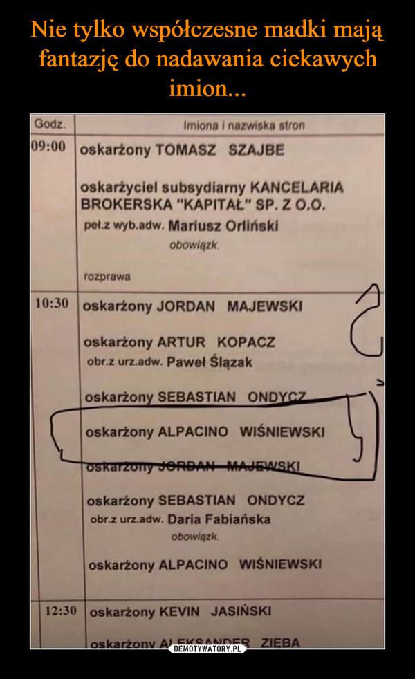 """–  GodzImiona i nazwiska stron09:00 oskarżony TOMASZ SZAJBEoskarżyciel subsydiarny KANCELARIABROKERSKA """"KAPITAL"""" SP.Z o.O.pel.z wyb.adw.Mariusz Orlińskiobowiązkrozprawa10:30 oskarżony JORDAN MAJEWSKIoskarżony ARTUR KOPACZobr.z urz.adw. Pawel Slązakoskarżony SEBASTIAN ONDYCZoskarżony ALPACINO WISNIEWSKIOSkarzony JeRDAN MAJEALSKIoskarżony SEBASTIAN ONDYCZobr.z urz.adw. Daria Fabiańskaobowiązkoskarżony ALPACINO WISNIEWSKI12:30 oskarżony KEVIN JASINSKIoskarżony ALEKSANDER ZIEBA"""