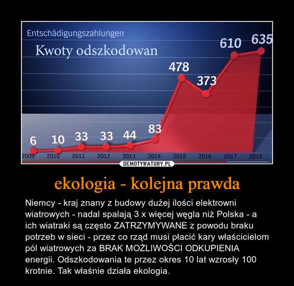 ekologia - kolejna prawda – Niemcy - kraj znany z budowy dużej ilości elektrowni wiatrowych - nadal spalają 3 x więcej węgla niż Polska - a ich wiatraki są często ZATRZYMYWANE z powodu braku potrzeb w sieci - przez co rząd musi płacić kary właścicielom pól wiatrowych za BRAK MOŻLIWOŚCI ODKUPIENIA energii. Odszkodowania te przez okres 10 lat wzrosły 100 krotnie. Tak właśnie działa ekologia.