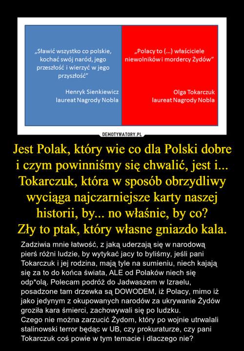 Jest Polak, który wie co dla Polski dobre i czym powinniśmy się chwalić, jest i... Tokarczuk, która w sposób obrzydliwy wyciąga najczarniejsze karty naszej historii, by... no właśnie, by co? Zły to ptak, który własne gniazdo kala.