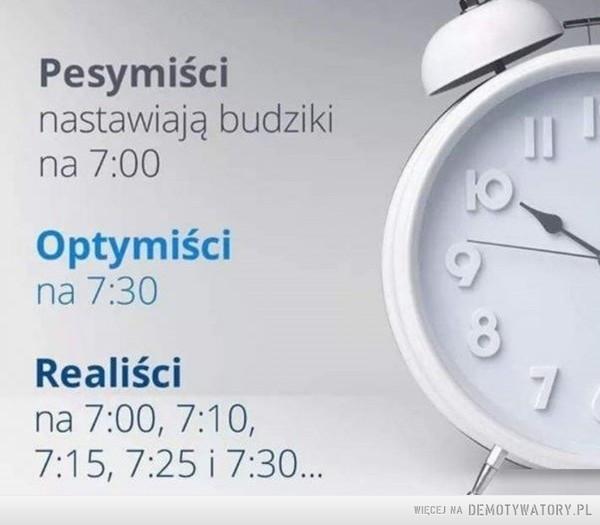 Nastawianie budzika –  Pesymiścinastawiają budzikina 7:00Optymiścina 7:30Realiścina 7:00, 7:10,7:15, 7:25 i 7:30...