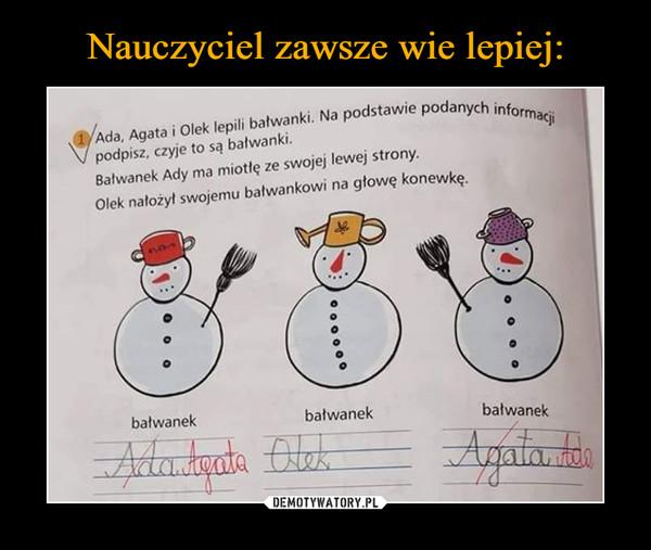 –  podpisz, czyje to są bałwanki.  Ada, Agata i Olek lepili bałwanki. Na podstawie podanych Bałwanek Ady ma miotłę ze swojej lewej strony. Olek nałożył swojemu bałwankowi na głowę konewkę.