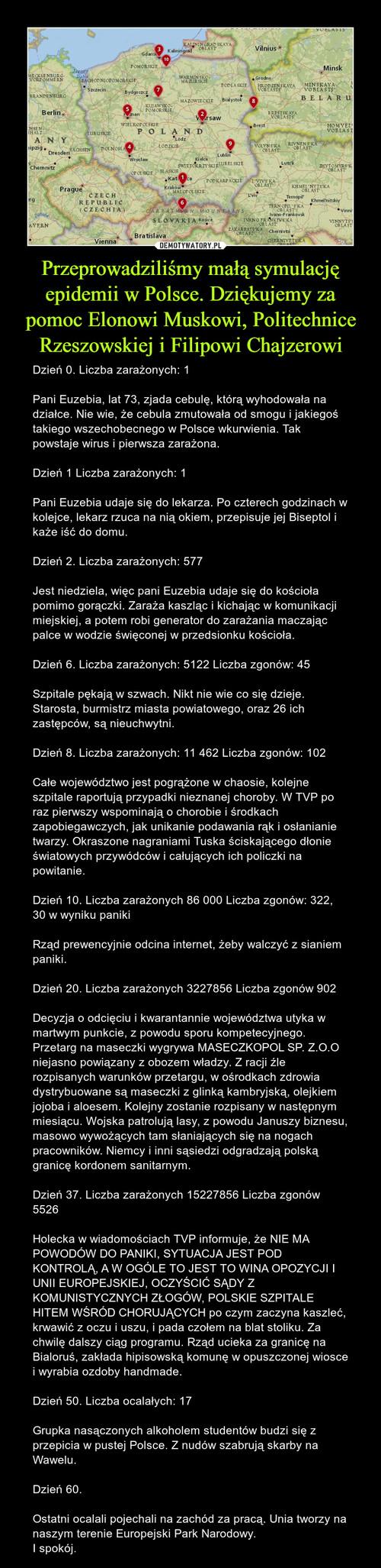 Przeprowadziliśmy małą symulację epidemii w Polsce. Dziękujemy za pomoc Elonowi Muskowi, Politechnice Rzeszowskiej i Filipowi Chajzerowi