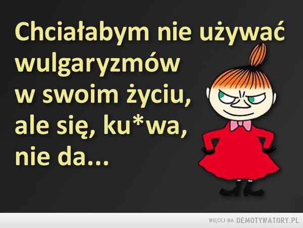 Wulgaryzmy –  Chciałabym nie używać wulgaryzmów w swoim życiu, ale się, ku*wa, nie da...