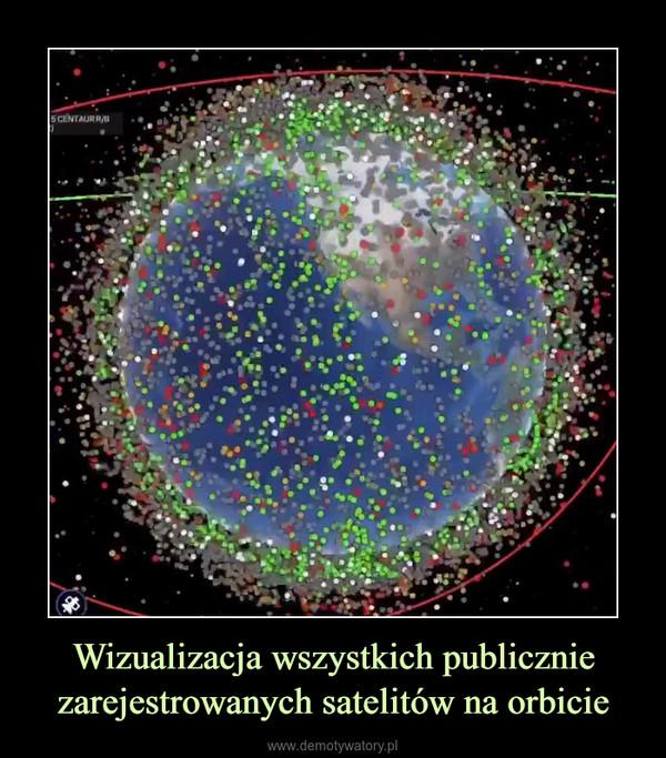 Wizualizacja wszystkich publicznie zarejestrowanych satelitów na orbicie –