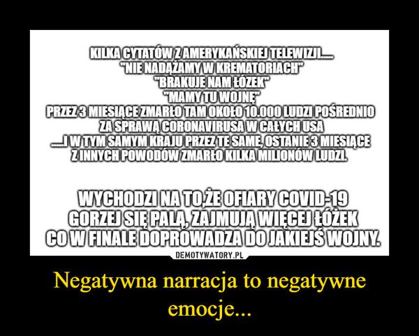 Negatywna narracja to negatywne emocje... –