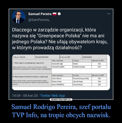 Samuel Rodrigo Pereira, szef portalu TVP Info, na tropie obcych nazwisk.