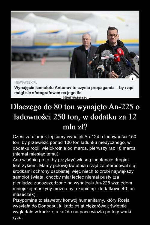 Dlaczego do 80 ton wynajęto An-225 o ładowności 250 ton, w dodatku za 12 mln zł?
