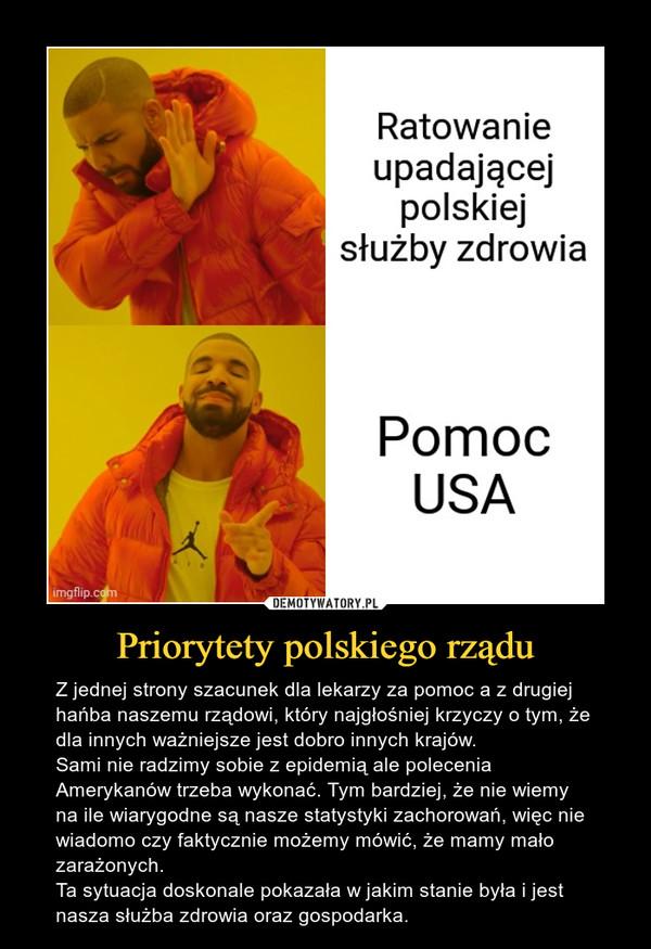 Priorytety polskiego rządu – Z jednej strony szacunek dla lekarzy za pomoc a z drugiej hańba naszemu rządowi, który najgłośniej krzyczy o tym, że dla innych ważniejsze jest dobro innych krajów.Sami nie radzimy sobie z epidemią ale polecenia Amerykanów trzeba wykonać. Tym bardziej, że nie wiemy na ile wiarygodne są nasze statystyki zachorowań, więc nie wiadomo czy faktycznie możemy mówić, że mamy mało zarażonych. Ta sytuacja doskonale pokazała w jakim stanie była i jest nasza służba zdrowia oraz gospodarka.