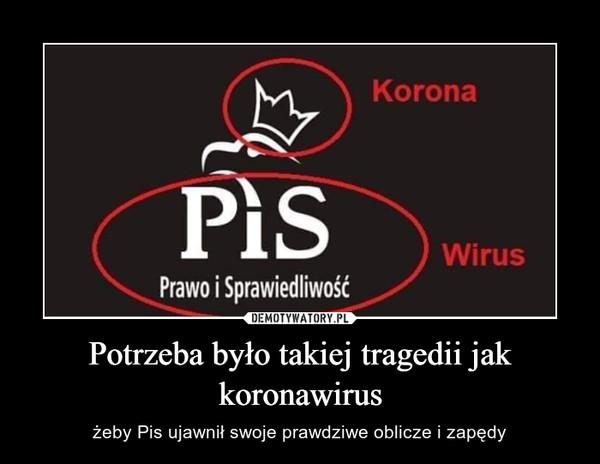 Potrzeba było takiej tragedii jak koronawirus – żeby Pis ujawnił swoje prawdziwe oblicze i zapędy