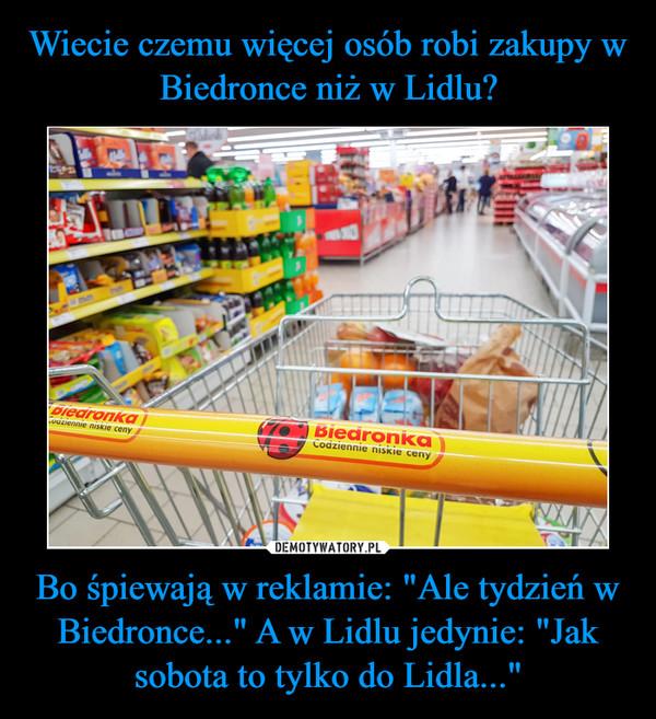 """Bo śpiewają w reklamie: """"Ale tydzień w Biedronce..."""" A w Lidlu jedynie: """"Jak sobota to tylko do Lidla..."""" –"""