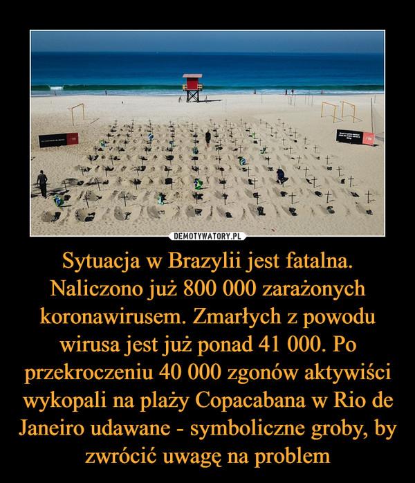 Sytuacja w Brazylii jest fatalna. Naliczono już 800 000 zarażonych koronawirusem. Zmarłych z powodu wirusa jest już ponad 41 000. Po przekroczeniu 40 000 zgonów aktywiści wykopali na plaży Copacabana w Rio de Janeiro udawane - symboliczne groby, by zwrócić uwagę na problem –