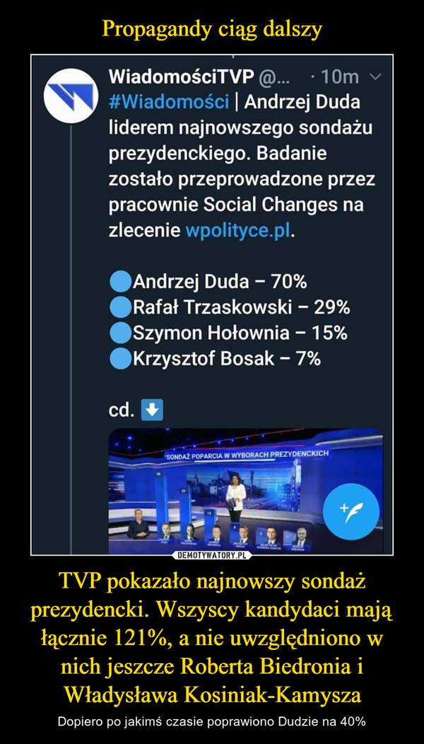 Propagandy ciąg dalszy TVP pokazało najnowszy sondaż prezydencki. Wszyscy kandydaci mają łącznie 121%, a nie uwzględniono w nich jeszcze Roberta Biedronia i Władysława Kosiniak-Kamysza