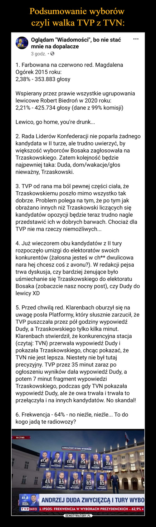 Podsumowanie wyborów  czyli walka TVP z TVN: