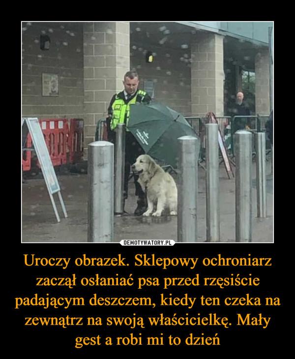 Uroczy obrazek. Sklepowy ochroniarz zaczął osłaniać psa przed rzęsiście padającym deszczem, kiedy ten czeka na zewnątrz na swoją właścicielkę. Mały gest a robi mi to dzień –