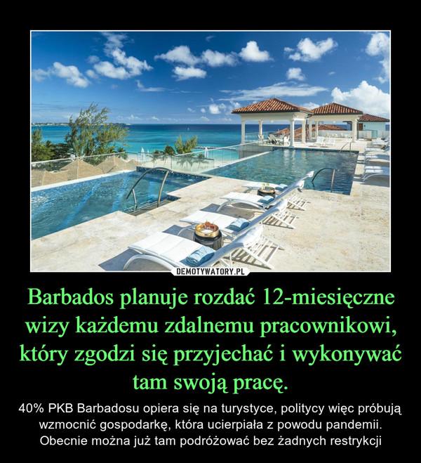 Barbados planuje rozdać 12-miesięczne wizy każdemu zdalnemu pracownikowi, który zgodzi się przyjechać i wykonywać tam swoją pracę. – 40% PKB Barbadosu opiera się na turystyce, politycy więc próbują wzmocnić gospodarkę, która ucierpiała z powodu pandemii. Obecnie można już tam podróżować bez żadnych restrykcji
