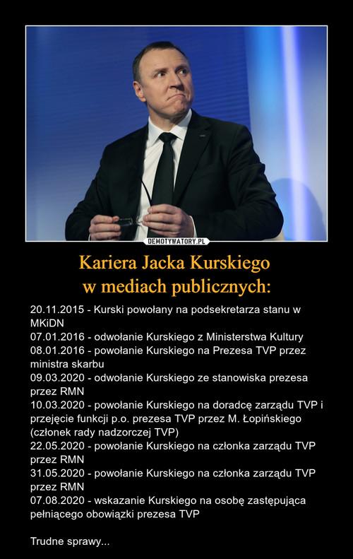 Kariera Jacka Kurskiego  w mediach publicznych: