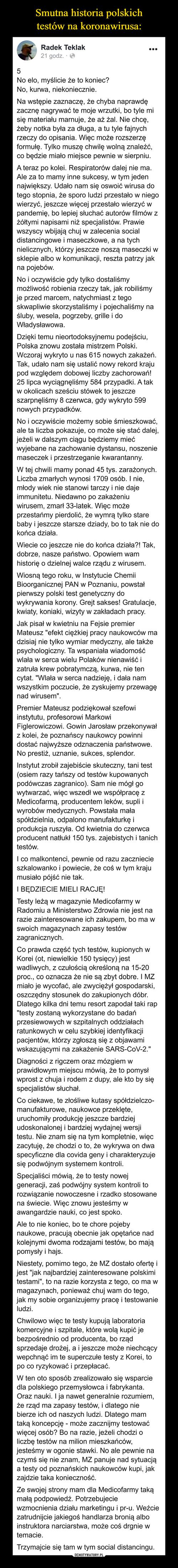 Smutna historia polskich testów na koronawirusa: