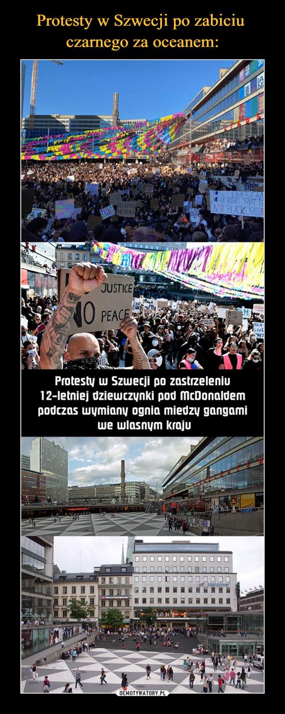 –  IMESCUCKING MAYNTIL BLACKLIVESNNO PEACEJUSTICEO PEACEBLALIVEProtesty w Szwecji po zastrzeleniu12-letniej dziewczynki pod McDonaldempodczas wymiany ognia miedzy gangamiwe wlasnym kraju