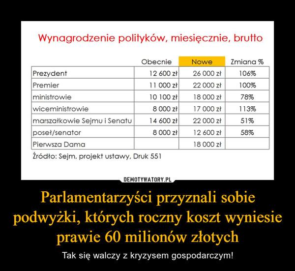 Parlamentarzyści przyznali sobie podwyżki, których roczny koszt wyniesie prawie 60 milionów złotych – Tak się walczy z kryzysem gospodarczym! Wynagrodzenie polityków, miesięcznie, brutto Obecnie Nowe Zmiana % Prezydent 12 600 zł 26 000 zł 106% Premier 11 000 zł 22 000 zł 100% ministrowie 10 100 zł 18 000 zł 78% wiceministrowie 8 000 zł 17 000 zł 113% marszałkowie Sejmu i Senatu 14 600 zł 22 000 zł 51% poseł/senator 8 000 zł 12 600 zł 58% Pierwsza Dama 18 000 zł Źródło: Sejm, projekt ustawy, Druk 551