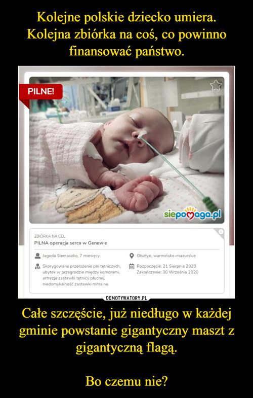Kolejne polskie dziecko umiera. Kolejna zbiórka na coś, co powinno finansować państwo. Całe szczęście, już niedługo w każdej gminie powstanie gigantyczny maszt z gigantyczną flagą.  Bo czemu nie?