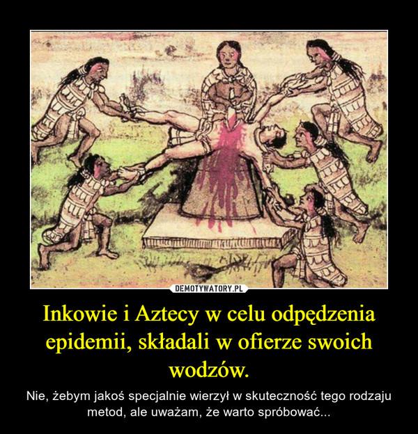 Inkowie i Aztecy w celu odpędzenia epidemii, składali w ofierze swoich wodzów. – Nie, żebym jakoś specjalnie wierzył w skuteczność tego rodzaju metod, ale uważam, że warto spróbować...