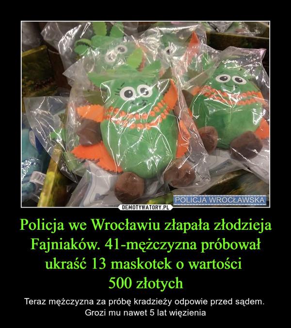 Policja we Wrocławiu złapała złodzieja Fajniaków. 41-mężczyzna próbował ukraść 13 maskotek o wartości  500 złotych