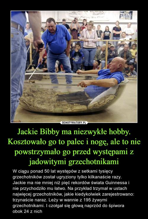 Jackie Bibby ma niezwykłe hobby. Kosztowało go to palec i nogę, ale to nie powstrzymało go przed występami z jadowitymi grzechotnikami
