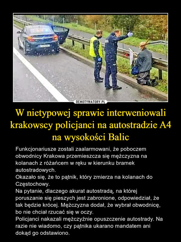 W nietypowej sprawie interweniowali krakowscy policjanci na autostradzie A4 na wysokości Balic