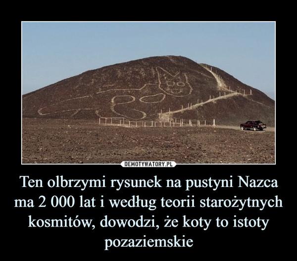 Ten olbrzymi rysunek na pustyni Nazca ma 2 000 lat i według teorii starożytnych kosmitów, dowodzi, że koty to istoty pozaziemskie –
