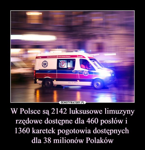 W Polsce są 2142 luksusowe limuzyny rzędowe dostępne dla 460 posłów i 1360 karetek pogotowia dostępnych dla 38 milionów Polaków –