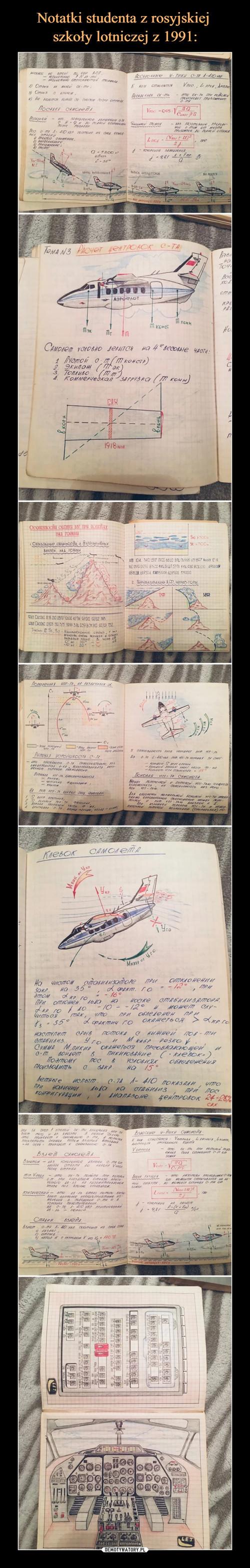 Notatki studenta z rosyjskiej  szkoły lotniczej z 1991: