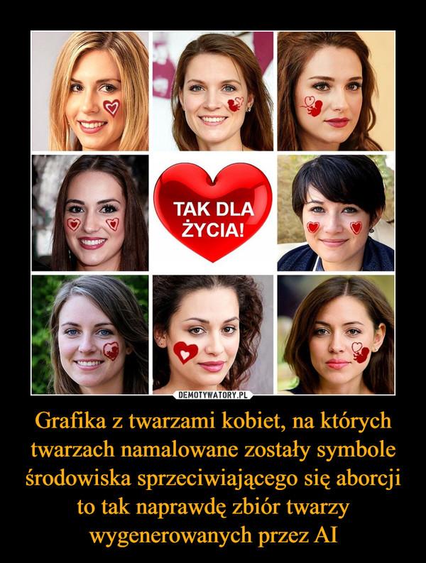 Grafika z twarzami kobiet, na których twarzach namalowane zostały symbole środowiska sprzeciwiającego się aborcji to tak naprawdę zbiór twarzy wygenerowanych przez AI –