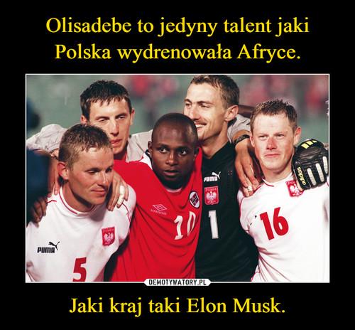 Olisadebe to jedyny talent jaki Polska wydrenowała Afryce. Jaki kraj taki Elon Musk.