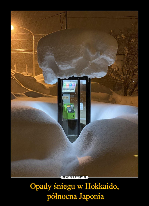 Opady śniegu w Hokkaido, północna Japonia –