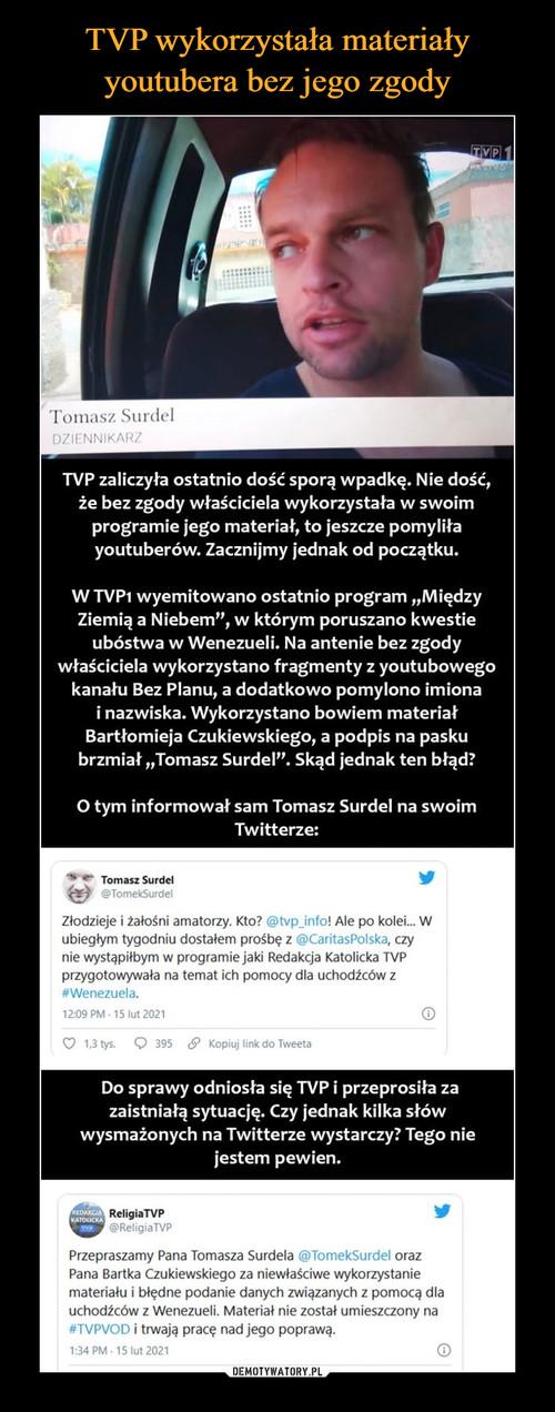 TVP wykorzystała materiały youtubera bez jego zgody