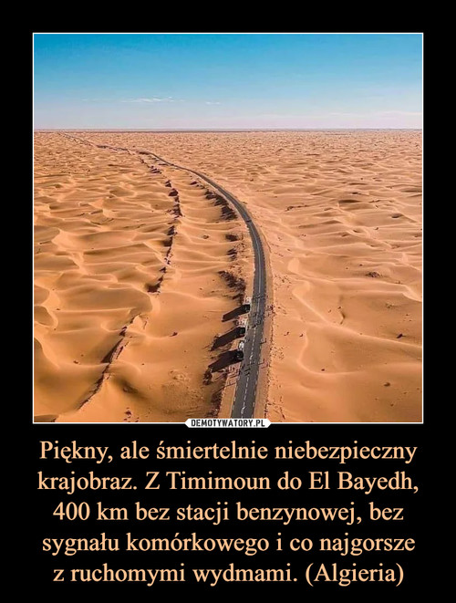 Piękny, ale śmiertelnie niebezpieczny krajobraz. Z Timimoun do El Bayedh, 400 km bez stacji benzynowej, bez sygnału komórkowego i co najgorsze z ruchomymi wydmami. (Algieria)