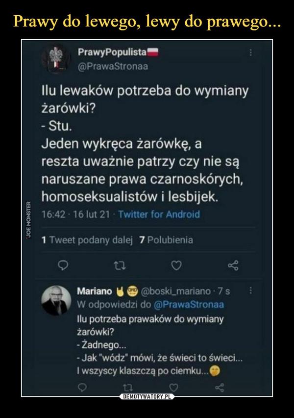 """–  V PrawyPopulista""""T @PrawaStronaaIlu lewaków potrzeba do wymianyżarówki?-Stu.Jeden wykręca żarówkę, areszta uważnie patrzy czy nie sąnaruszane prawa czarnoskórych,homoseksualistów i lesbijek.16:42 • 16 lut 21 Twitter for Android1 Tweet podany dalej 7 PolubieniaMariano \i & (5)boski_marianoW odpowiedzi do (ćpPrawaStronaaIlu potrzeba prawaków do wymianyżarówki?- Żadnego...- Jak """"wódz* mówi, że świeci to świeci...I wszyscy klaszczą po ciemku...#"""