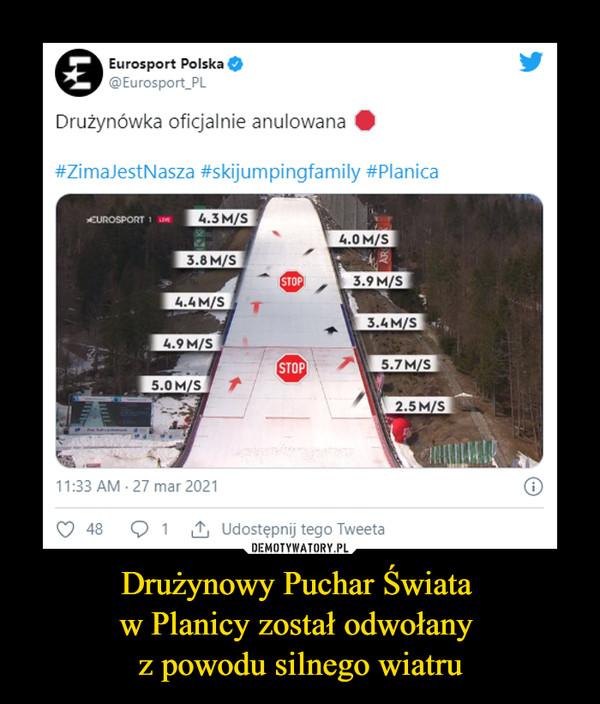 Drużynowy Puchar Świata w Planicy został odwołany z powodu silnego wiatru –  Eurosport Polska Drużynówka oficjalnie anulowana
