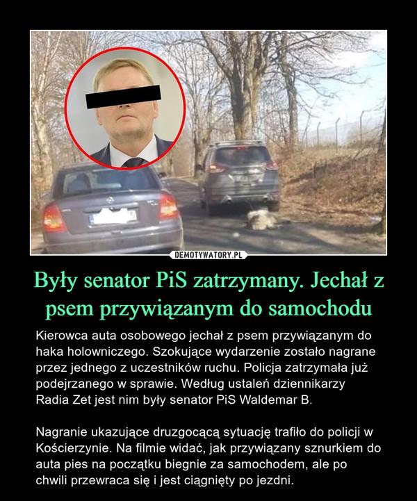 Były senator PiS zatrzymany. Jechał z psem przywiązanym do samochodu – Kierowca auta osobowego jechał z psem przywiązanym do haka holowniczego. Szokujące wydarzenie zostało nagrane przez jednego z uczestników ruchu. Policja zatrzymała już podejrzanego w sprawie. Według ustaleń dziennikarzy Radia Zet jest nim były senator PiS Waldemar B.Nagranie ukazujące druzgocącą sytuację trafiło do policji w Kościerzynie. Na filmie widać, jak przywiązany sznurkiem do auta pies na początku biegnie za samochodem, ale po chwili przewraca się i jest ciągnięty po jezdni.