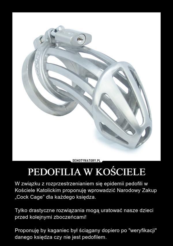 """PEDOFILIA W KOŚCIELE – W związku z rozprzestrzenianiem się epidemii pedofili w Kościele Katolickim proponuję wprowadzić Narodowy Zakup """"Cock Cage"""" dla każdego księdza. Tylko drastyczne rozwiązania mogą uratować nasze dzieci przed kolejnymi zboczeńcami!Proponuję by kaganiec był ściągany dopiero po """"weryfikacji"""" danego księdza czy nie jest pedofilem."""