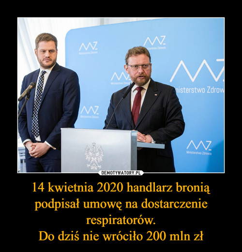 14 kwietnia 2020 handlarz bronią podpisał umowę na dostarczenie respiratorów. Do dziś nie wróciło 200 mln zł