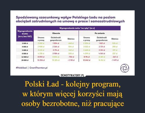 Polski Ład - kolejny program, w którym więcej korzyści mają osoby bezrobotne, niż pracujące
