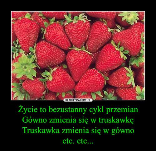 Życie to bezustanny cykl przemian Gówno zmienia się w truskawkę Truskawka zmienia się w gówno etc. etc...