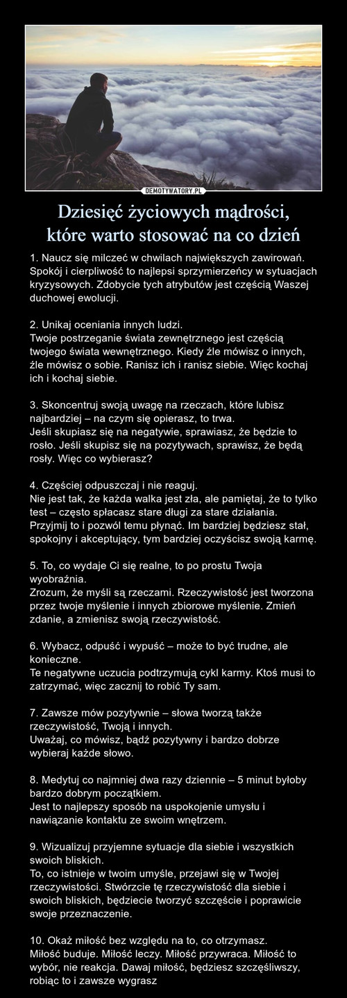 Dziesięć życiowych mądrości, które warto stosować na co dzień