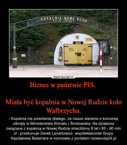 Biznes w państwie PIS.   Miała być kopalnia w Nowej Rudzie koło Wałbrzycha.
