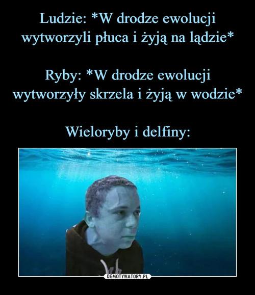Ludzie: *W drodze ewolucji wytworzyli płuca i żyją na lądzie*  Ryby: *W drodze ewolucji wytworzyły skrzela i żyją w wodzie*  Wieloryby i delfiny: