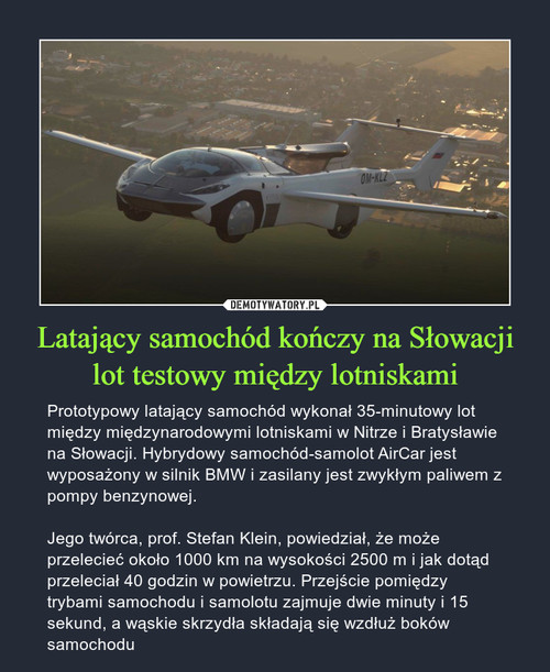 Latający samochód kończy na Słowacji lot testowy między lotniskami