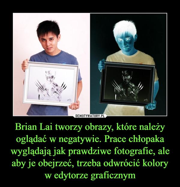Brian Lai tworzy obrazy, które należy oglądać w negatywie. Prace chłopaka wyglądają jak prawdziwe fotografie, ale aby je obejrzeć, trzeba odwrócić kolory w edytorze graficznym –