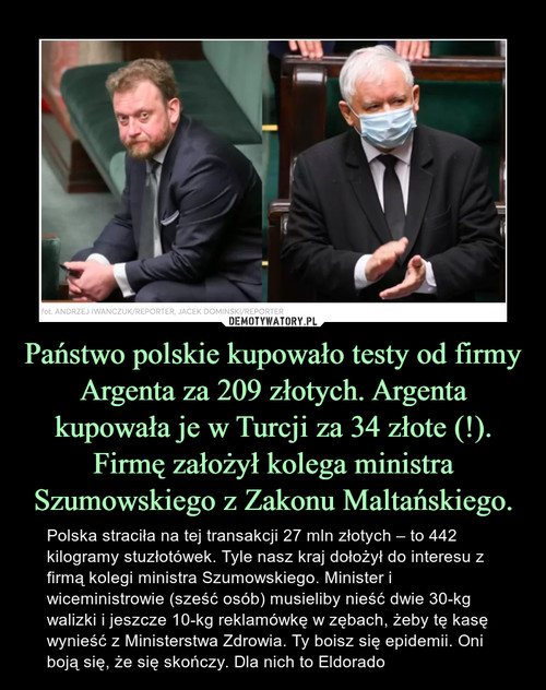 Państwo polskie kupowało testy od firmy Argenta za 209 złotych. Argenta kupowała je w Turcji za 34 złote (!). Firmę założył kolega ministra Szumowskiego z Zakonu Maltańskiego.