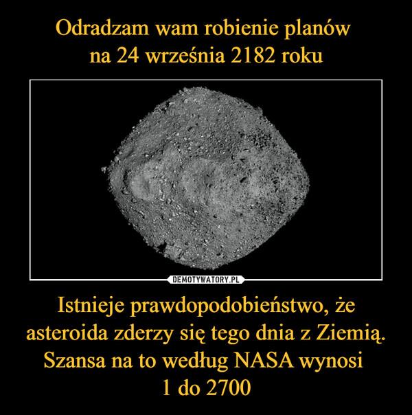 Istnieje prawdopodobieństwo, że asteroida zderzy się tego dnia z Ziemią. Szansa na to według NASA wynosi 1 do 2700 –